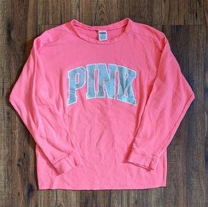 Pink Victoria's Secret Glitter Crewneck Sweatshirt